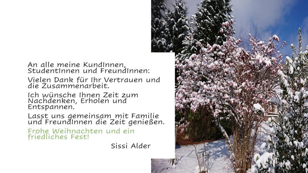 An alle meine KundInnen, StudentInnen und FreundInnen:  Vielen Dank für Ihr Vertrauen und die Zusammenarbeit.  Ich wünsche Ihnen Zeit zum Nachdenken, Erholen und Entspannen.  Lasst uns gemeinsam mit Familie  und FreundInnen die Zeit genießen.  Frohe Weihnachten und ein friedliches Fest!                                Sissi Alder